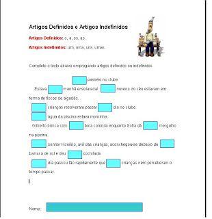 Atividades Sobre Artigo Definido E Indefinido Com Imagens