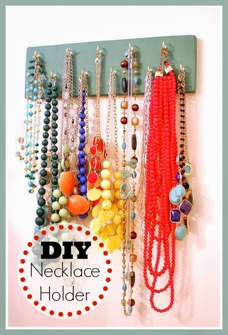 DIY Necklace Holder, Easy and could be cute.  Maybe instead of paint I could modge podge some turquoise and zebra scrapbook paper on wood and add hooks.