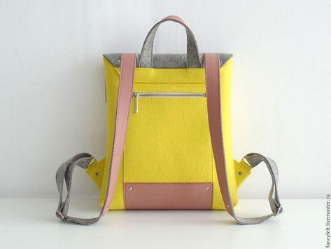 8874adb793a7 Рюкзаки ручной работы. Желтый рюкзак из фетра и натуральной кожи.  Fancyfelt. Ярмарка Мастеров. Рюкзак, сумка ручной работы