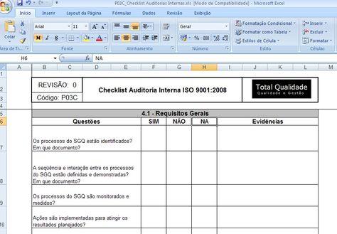 Internal Quality Management System Audit Checklist Iso 90012015 - audit plan template