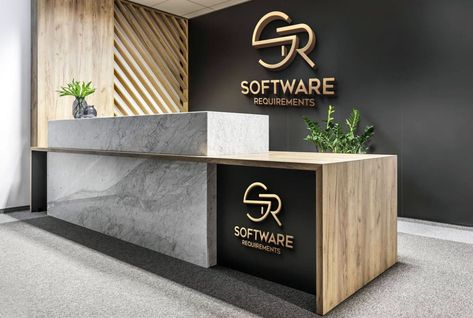 Hello, I will Design Morden 3D Text logo For your Business . I am a person who has always been fond of inventing something new for my clients, I know the value of time so i will give you design in a day with great quality. I do hard work with full determination and motivation. Office Reception Design, Modern Reception Desk, Office Table Design, Dental Office Design, Modern Office Design, Modern Offices, Healthcare Design, Office Counter Design, Reception Counter Design