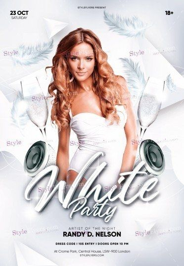White Party Psd Flyer Template All White Party Party Flyer White Party