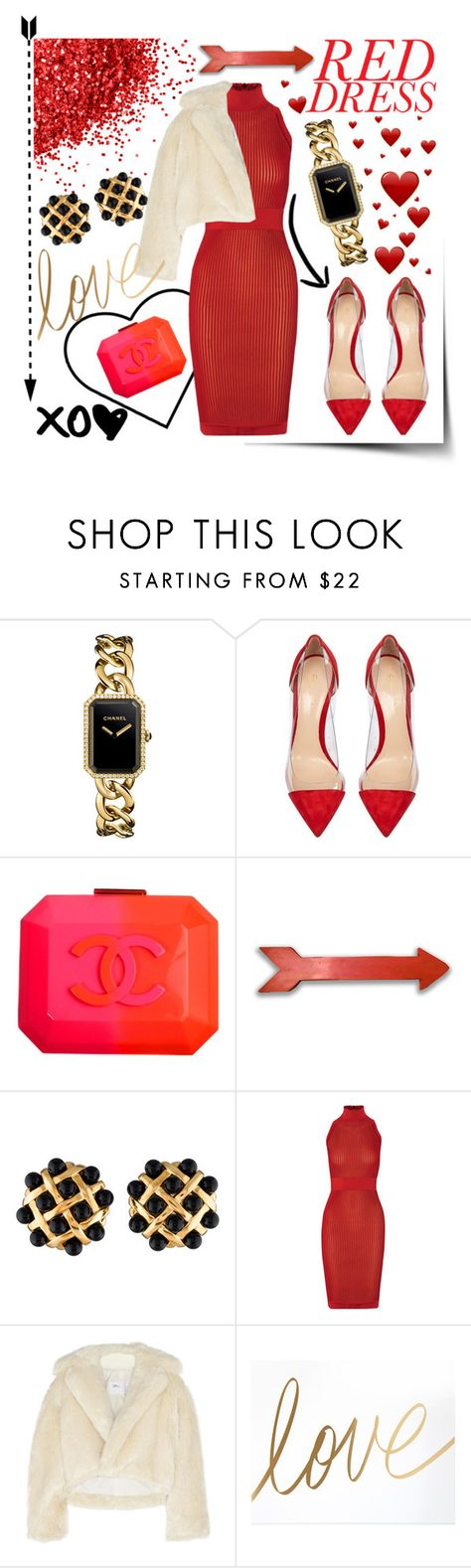 """Red Dress"" by mostincrediblebaby ❤ liked on Polyvore featuring Chanel, Gianvito Rossi, Balmain, Toga, women's clothing, women, female, woman, misses and juniors"