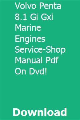 Volvo Penta 8 1 Gi Gxi Marine Engines Service Shop Manual Pdf On Dvd Tractor Price Used Excavators Volvo
