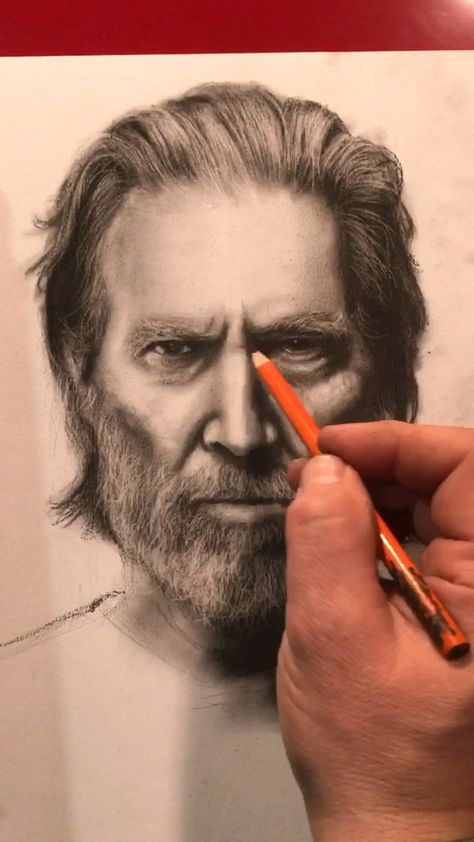 Charcoal drawing of The Dude, Jeff Bridges