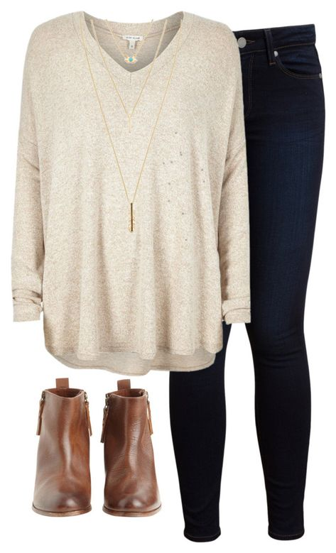 beige sweater, dark wash jean all I need! Have the boots waiting at home