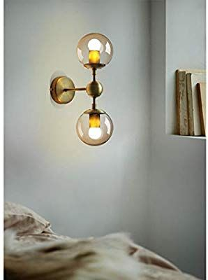 Industrial Wall Light Vintage Wall Sconce With Clear Globe Glass Shade And Round Base In Brushed Brass Industrial Wall Lights Wall Lights Vintage Wall Sconces