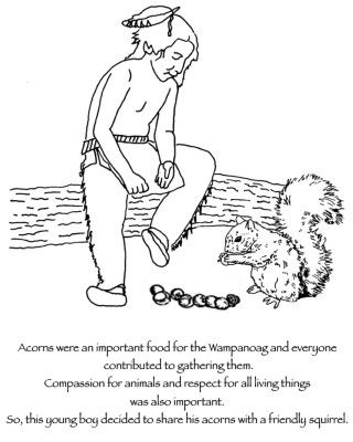 Thanksgiving Coloring Pages Wampanoag Child Sharing Acorns With Squirrel Thanksgiving Coloring Pages People Coloring Pages Coloring Pages