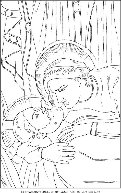 La-Complainte-sur-le-Christ_Giotto Famous paintings coloring pages