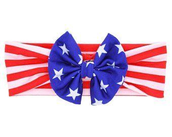Forth Of July Stars Headband Baby Headbands Red White and Blue Headband Bow Headbands Girls Headbands