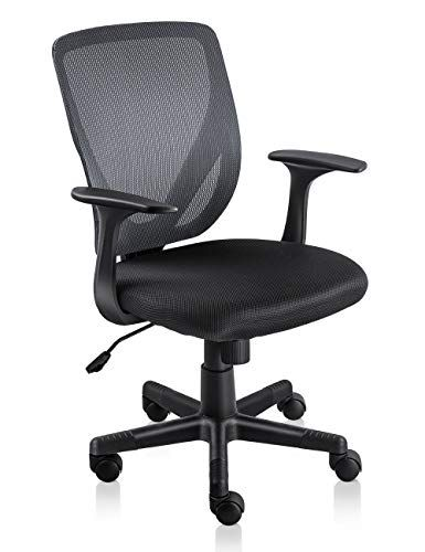 Rimiking Mid Back Mesh Office Chair Ergonomic Sturdy Chair With Curved Backrest Balck Grey Chair Mesh Office Chair Office Desk Chair