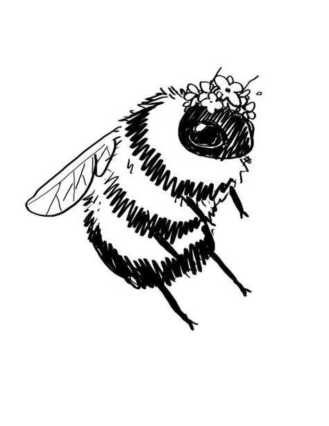 Adorable bumble bee illustration especially for a baby nursery Art Sketches, Art Drawings, Tattoo Drawings, Illustrations, Illustration Art, Bumble Bee Illustration, Character Illustration, Posca Art, Arte Sketchbook