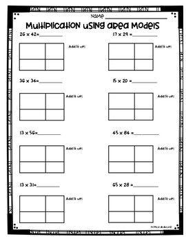 Area Model Multiplication Worksheets 3 Nbt 2 And 4 Nbt 5 Area Model Multiplication Area Models Multiplication Worksheets