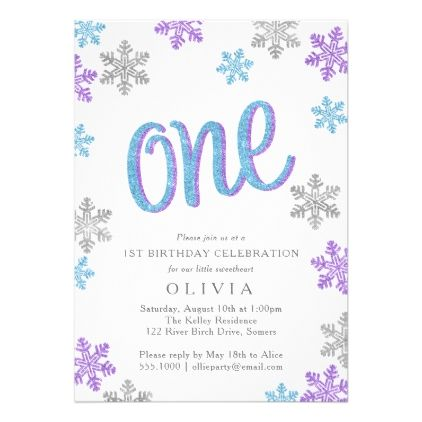 First Birthday Invitation Blue Silver Purple Invitation