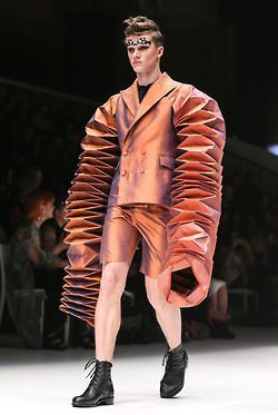Australian design student Jung Hong from the Royal Melbourne Institute of Fashion wowed the crowds last night with his origami inspired creations as part of the RMIT Student Runway at MSFW.