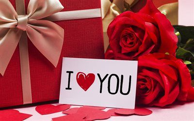 Download wallpapers I love you, romance, red roses, love concepts ...