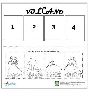 Volcano sequencing worksheet for kids | Worksheet for kids ...