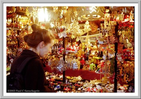 Booth at a Christmas Market in Germany. How I miss those! such great stuff !! Photo via web