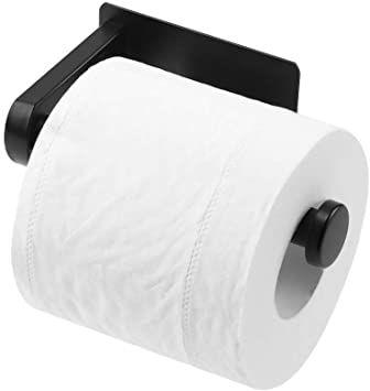 Dgwhyc Adhesive Toilet Paper Holder Premium Matte Black Toilet Paper Holder No Drilling For Bathroom Black Toilet Paper Holder Black Toilet Paper Black Toilet