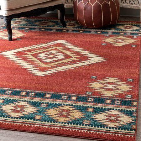 Union Rustic Lachine Red Blue Area Rug Walmart Com With Images