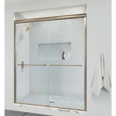 Basco Infinity 58 1 2 In X 70 In Semi Frameless Sliding Shower Door In Brushed Gold With Aquaglidexp Clear Glass Infh05a5870xpbg The Home Depot Slidingshow In 2020 Shower Doors Sliding Shower Door Frameless