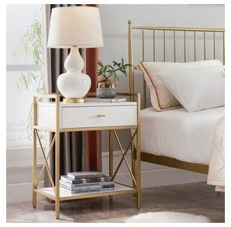 Silver Orchid Beyers Gold Metal And Wood Night Stand Side Table Brown Gold Bed Side Table Incr In 2020 Bedroom Night Stands Side Tables Bedroom White Side Tables