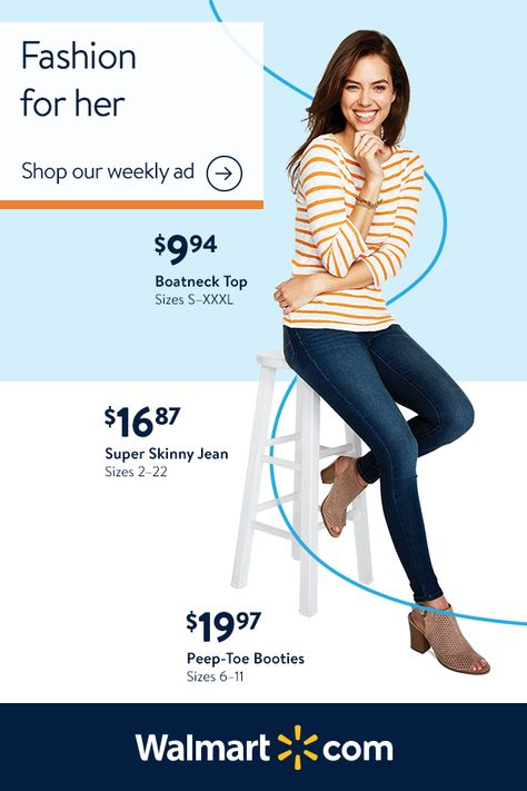 Outfit your family from head to toe with Walmart's weekly ad. Shop women's knit shirts, lace tops and stylish jeans from Time and Tru. Find men's classics like button-down shirts, sweaters and Henleys by George. Keep the kids looking great for picture day and make sure they have all the active gear needed for after-school fun.
