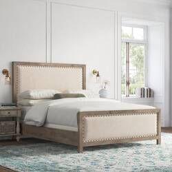 Burgan Low Profile Standard Bed Master Bedroom Furniture Wood And Upholstered Bed Furniture Upholstered bed with wood trim