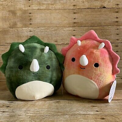 2 Squishmallows 8 Triceratops Dinosaurs Limited Edition Pink Green Ebay Cute Stuffed Animals Cute Plush Best Christmas Toys
