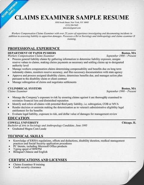 Claims Examiner Resume (resumecompanion) Resume Samples - independent property adjuster sample resume