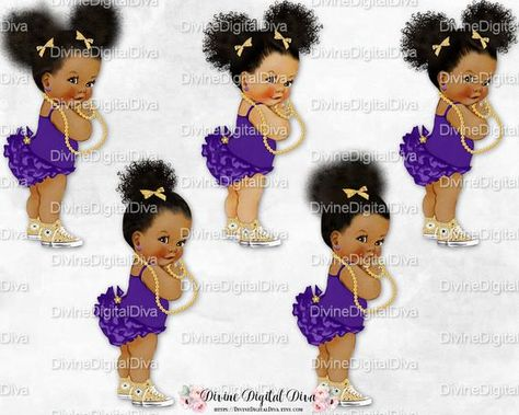 Princess African American Tone Mermaid Baby Girl Sleeping in Clam Shell Purple /& Gold Tiara Tail Pearls Clipart Instant Download