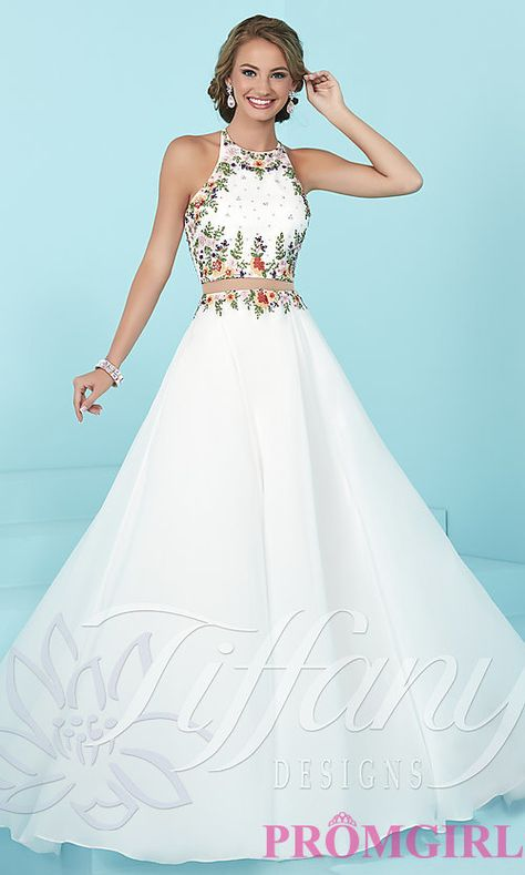 72a5b67c3865 Image of mock two-piece long prom dress by Tiffany. Style  TF-16206 Detail  Image 2