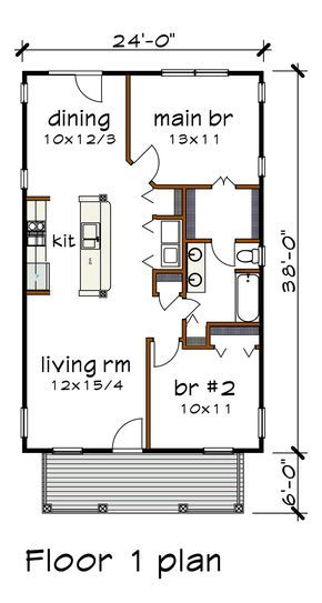 Bungalow Style House Plan 75517 With 2 Bed 1 Bath Small House Layout Bungalow Style House Plans Tiny House Floor Plans