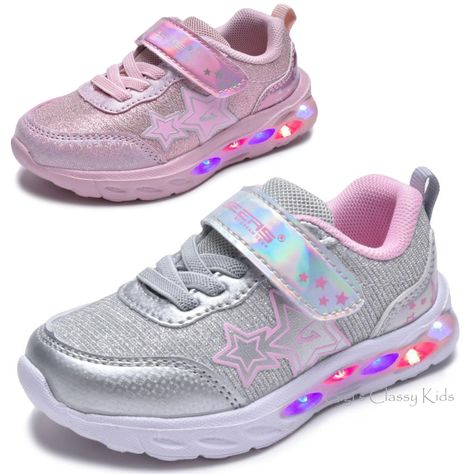 Light Up LED Baby Toddler Girls Strap Tennis Shoes Sneakers New