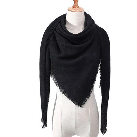 99501ac7af4 Designer 2018 tricoté printemps hiver femmes écharpe plaid chaud cachemire  foulards châles de luxe marque cou bandana pashmina lady wrap
