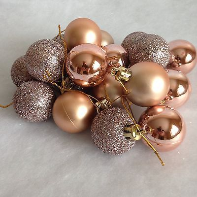 24 Rose Gold Christmas Tree Baubles Xmas Decorations New