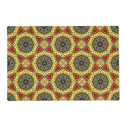 Retro Pattern Brown Red Yellow Placemat Zazzle Com Retro Pattern Custom Placemats Placemats