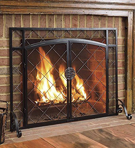 Amazon Com Celtic Knot Large Fireplace Screen With Hinged Doors Powder Coated Steel Fra Rustic Fireplace Screens Fireplace Screens With Doors Fireplace Cover