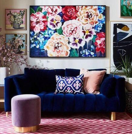 Living Room Art Work Blue 36 Ideas Velvet Couch Living Room Blue Sofa Living Velvet Living Room