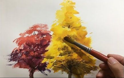 Shibasaki Trees 2 Autumn Easy Watercolour Tutorial With