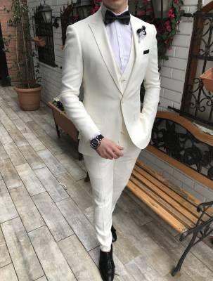 Terziademaltun Italyan Stil Slim Fit Ceket Yelek Pantolon Beyaz Takim Elbise T3306 1 Takim Elbise Blazer Ceket Stil