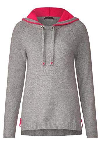 Cecil Damen Sportlicher Hoodie Pullover Mineral Grey Melange
