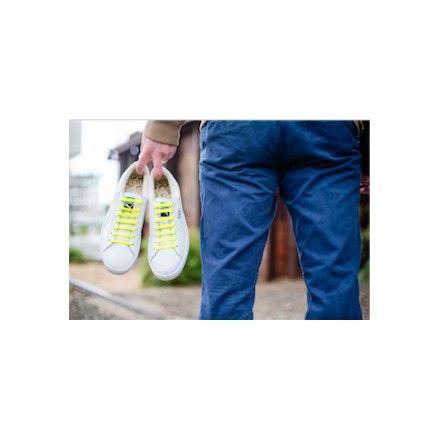 Lacet basket plat jaune Lacet de chaussure elastique