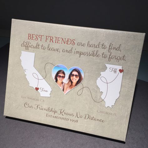 Thanks to Tiffany for letting us share a photo of her Best Friend Long Distance wrapped canvas gift. Choose any two places, customize your colors, add a photo, and we'll help you create a friendship keepsake map.