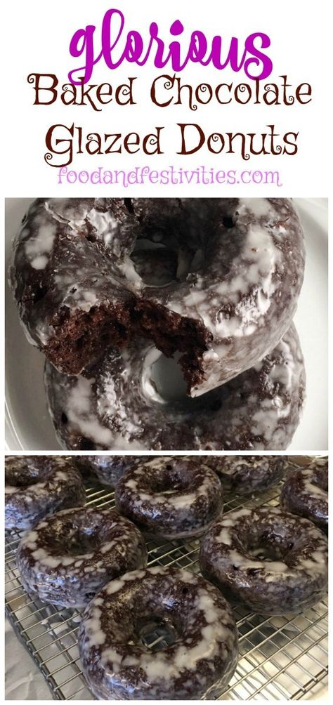 Baked Chocolate Glazed Donuts Food and Festivities Where food and fun come together! The post Baked Chocolate Glazed Donuts Food and Festivities Where food and fun come t appeared first on Dessert Park. Baked Donut Recipes, Baked Doughnuts, Baking Recipes, Dessert Recipes, Desserts, Donuts Donuts, Breakfast Recipes, Cake Recipes, Dessert Blog