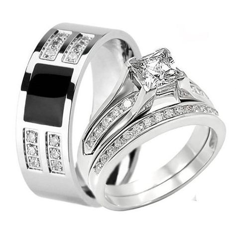 96bcdb0099c792 3 Piece HIS HERS Engagement Wedding Ring SET This auction is for a MENS/ WOMENS Engagement Wedding Band Ring Set. It consists of 3 PIECES:
