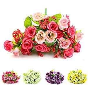 1 Bouquet 21 Head Artifical Silk Rose Flower Wedding Party Office Home Decor