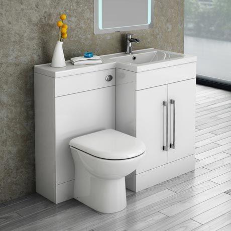 Valencia Bathroom Combination Suite Unit With Basin Round Toilet 1100mm In 2020 Industrial Bathroom Decor Bathroom Suite Small Bathroom Sinks