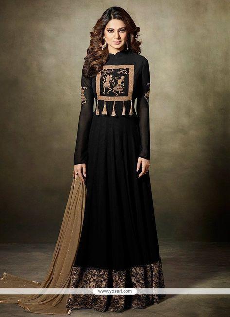 Jennifer Winget Black Faux Georgette Floor Length Anarkali Suit
