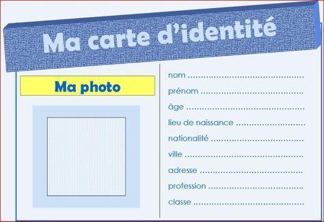 Je Me Presente Carte D Identite Carte Identite Enfant Et